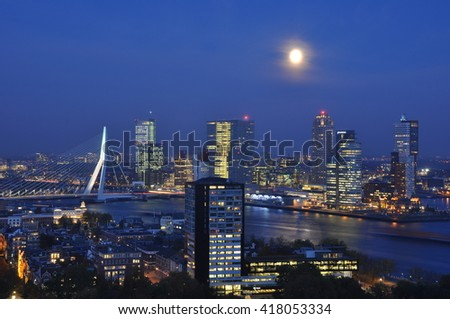 26.october 2015 - Rotterdam skyline with Erasmus bridge at twilight as seen from the Euromast tower, The Netherlands