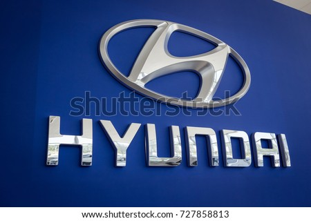 01 of August,2017 - Vinnitsa,Ukraine - HYUNDAI brandwall,the logo of the brand HYUNDAI,HYUNDAI logo,HYUNDAI concept car,HYUNDAI Creta