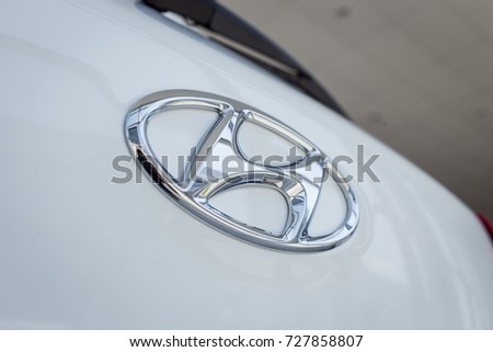 01 of August,2017 - Vinnitsa,Ukraine - the logo of the brand HYUNDAI,HYUNDAI logo,HYUNDAI concept car,HYUNDAI Creta