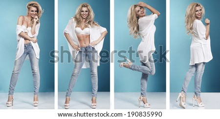 4 of blonde beauty wearing sexy lingerie and jeans  - stock photo