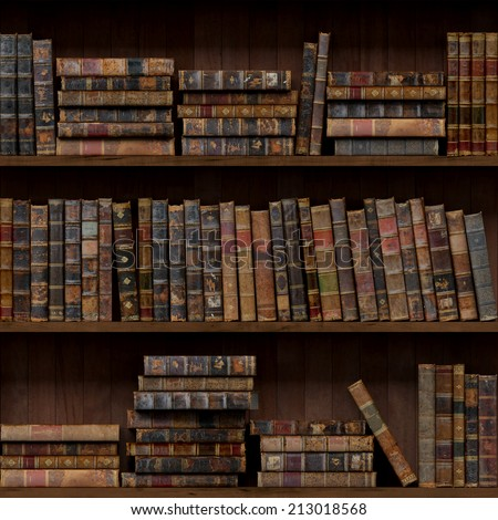 9 of 15 Old books seamless texture (vertically and horizontally). Bookshelf Background. Also tiled with other 15 textures from same pack in my gallery. - stock photo