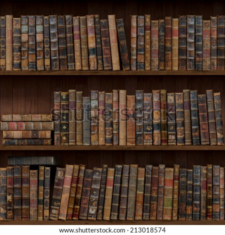 8 of 15 Old books seamless texture (vertically and horizontally). Bookshelf Background. Also tiled with other 15 textures from same pack in my gallery. - stock photo