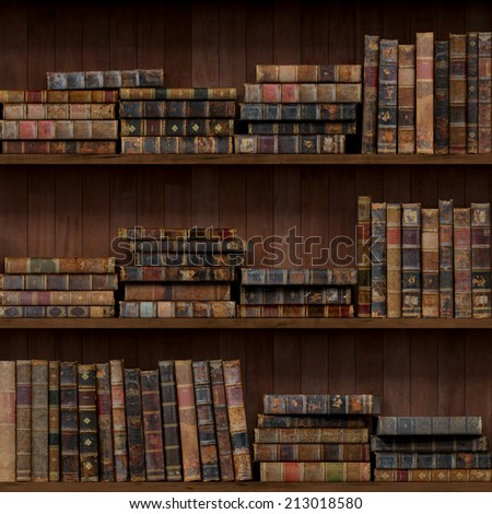 6 of 15 Old books seamless texture (vertically and horizontally). Bookshelf Background. Also tiled with other 15 textures from same pack in my gallery. - stock photo