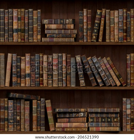 2of15 Old books seamless texture (vertically and horizontally). Tiled Bookshelf Background. Also tiled with other 15 textures from same pack in my gallery. - stock photo