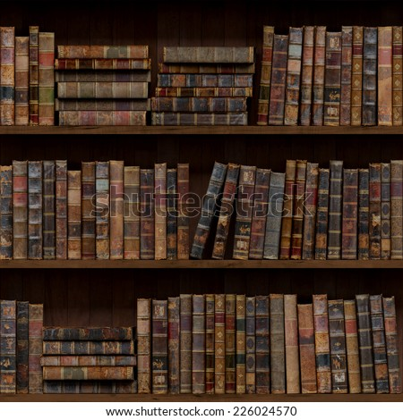 10of15 Old books seamless texture (vertically and horizontally). Tiled Bookshelf Background. Also tiled with other 15 textures from same pack in my gallery. - stock photo