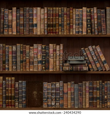 11of15 Old books seamless texture (vertically and horizontally). Tiled Bookshelf Background. Also tiled with other 15 textures from same pack in my gallery. - stock photo