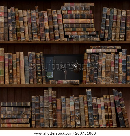 12of15 Old books seamless texture (vertically and horizontally). Tiled Bookshelf Background. Also tiled with other 15 textures from same pack in my gallery. Open safe. - stock photo