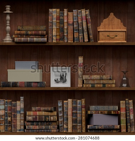 13of15 Old books seamless texture (vertically and horizontally). Tiled Bookshelf Background. Also tiled with other 15 textures from same pack in my gallery. With vintage stuff  - stock photo