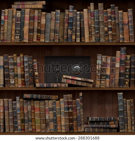 15of15 Old books seamless texture (vertically and horizontally). Tiled Bookshelf Background. Also tiled with other 15 textures from same pack in my gallery. Closed safe. - stock photo