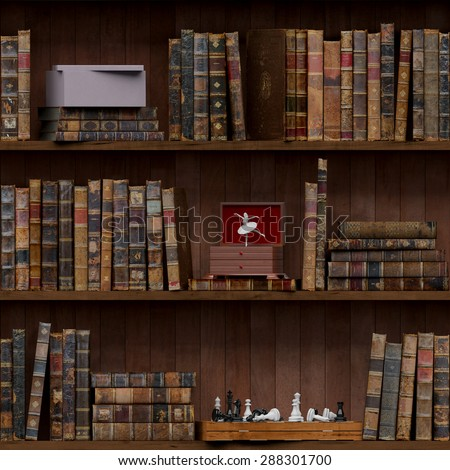 14of15 Old books seamless texture (vertically and horizontally). Tiled Bookshelf Background. Also tiled with other 15 textures from same pack in my gallery. With vintage stuff - stock photo