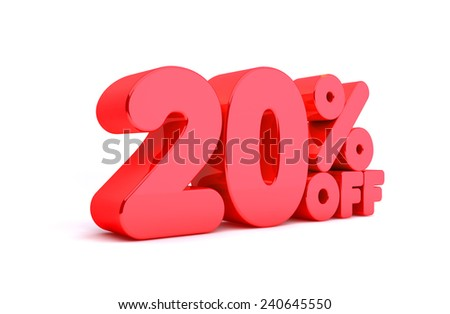 20% Off 3D Render Red Word Isolated in White Background - stock photo