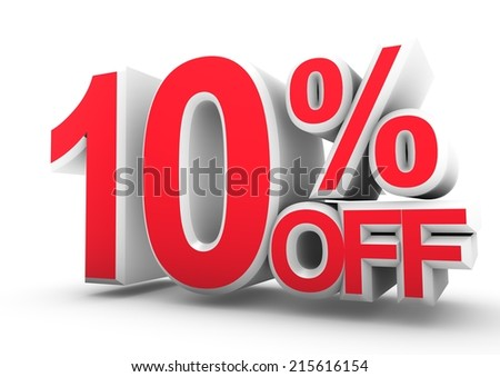 10% Off 3D word Isolated. Render illustration. - stock photo