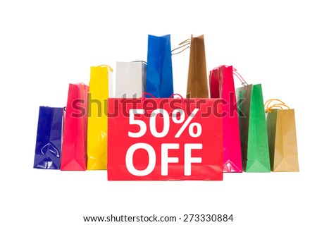 50 off discount concept using shopping bags isolated on white background - stock photo