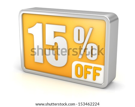 15% off, fifteen percent sale, 3d discount icon. Isolated on white background. Image with clipping path. - stock photo
