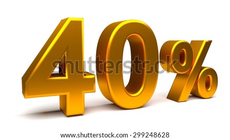 40% off. On sale. Almost half. Rendered UHD 4K illustration of 3840x2160 pixels. Isolated 3D text with big golden fonts on white background.