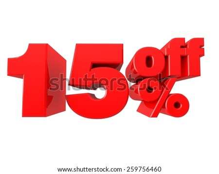 15% Off Promotional Sign Isolated on white background - stock photo