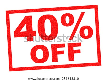 40% OFF red Rubber Stamp over a white background. - stock photo