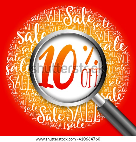 10% OFF sale word cloud with magnifying glass, business concept - stock photo