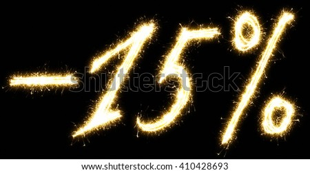 -15% off sign. Made of sparkler. Isolated on a black background