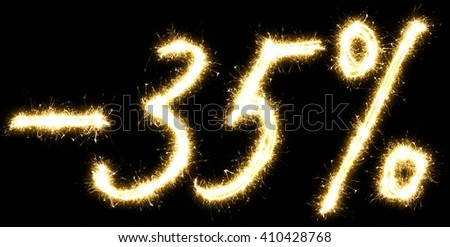 -35% off sign. Made of sparkler. Isolated on a black background