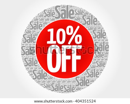 10% OFF stamp vector words cloud, business concept background - stock photo