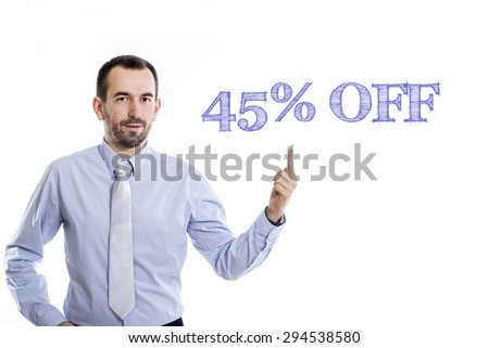 45% off  Young businessman with small beard pointing up in blue shirt