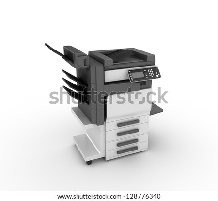 office multifunction printer isolated on white background - stock photo