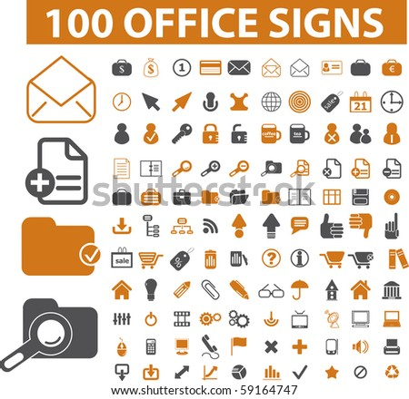 100 office signs - stock photo