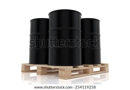 oil barrels  on wood pallet. 3D render background. - stock photo