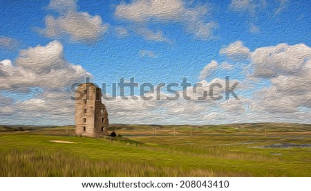 oil painting old ancient decay irish castle in county clare ireland - stock photo