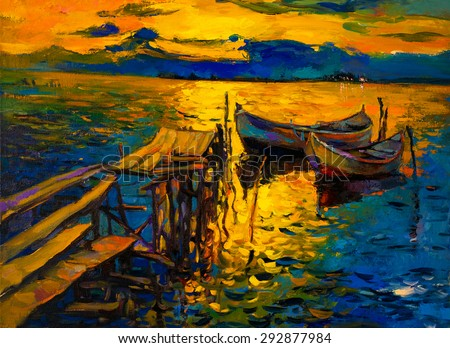 Oil Painting on Canvas- Fishing boats by the pier-  Modern impressionism by Nikolov - stock photo