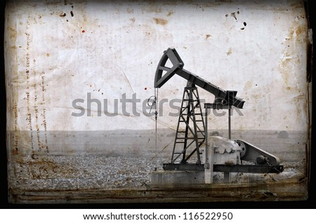 Oil Pump in the Bulgaria, Balkans..Photo in old image style. - stock photo