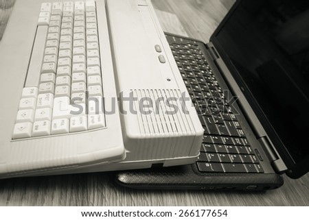 old  and new computer  - stock photo