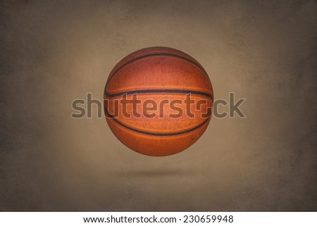 Old basketball on grunge texture background - stock photo