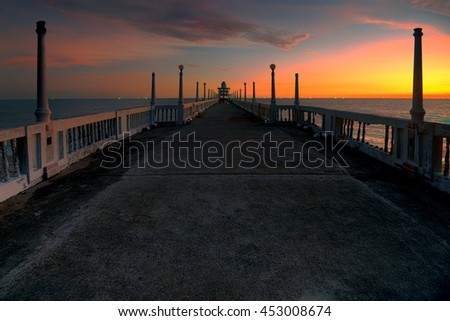 Old cement bridge and sunset.