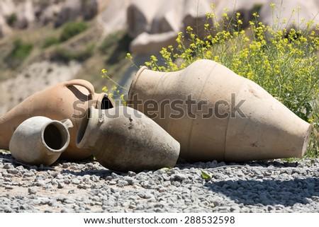 old ceramic pots in Cappadocia, Turkey. - stock photo