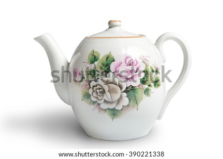 old ceramic teapot on white background