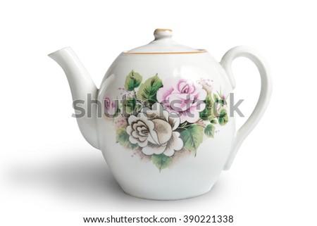 old ceramic teapot on white background - stock photo
