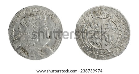 old coin silver of the 16th century  - stock photo