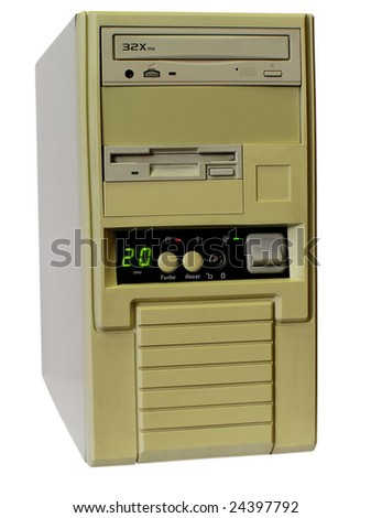 Old computer, isolated on white - stock photo