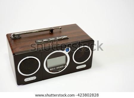 Old digital radio isolated on white background                      - stock photo