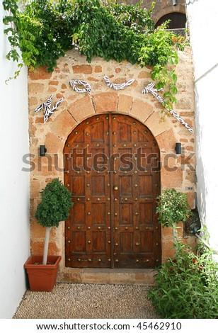 old door in Lindos- island Rhodes, Greece - stock photo