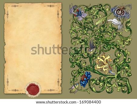 Old flowers pattern illustration - stock photo