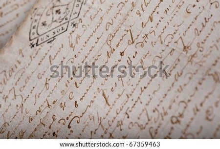 Old French manuscript from a notary with a stamp - stock photo