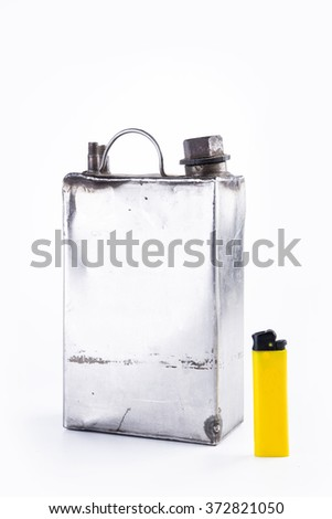 old fuel can and yellow lighter isolated - stock photo
