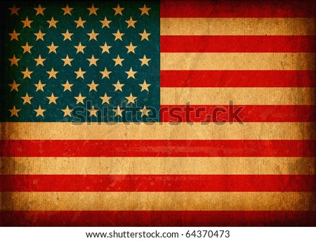 06 Old grunge flag of United States of America with original color, on damaged paper