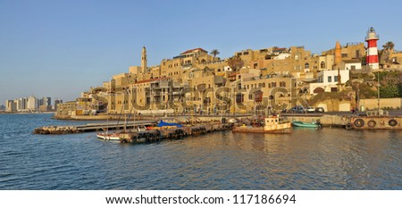 old Jaffa Port and Tel-Aviv - stock photo