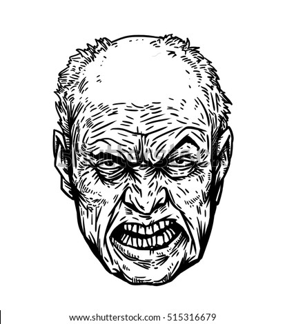 Old man with angry face