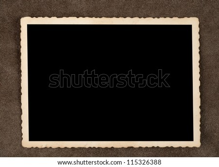 Old photos on brown background - old pictures - stock photo