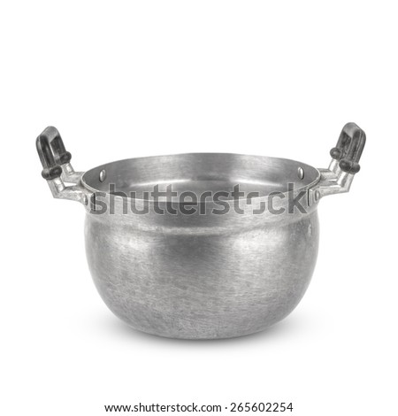 old pots  isolated on white background - stock photo